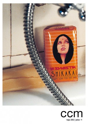 """""""Shikakai"""", a postcard of the CCM project by Luciana Fina and Moritz Elbert, showing close-up of a wrapped Shikakai soap bar in the bathroom in Lisbon."""